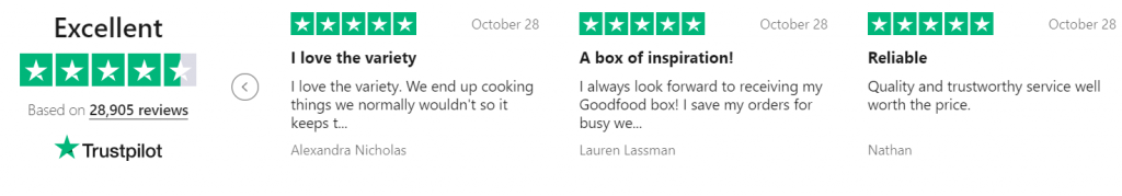 trustpilot good food reviews